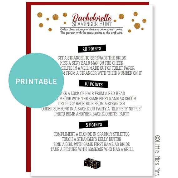 Printable Bachelorette Party Game: Photo Scavenger Hunt // casino theme // Viva Las Vegas
