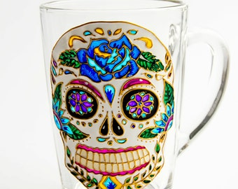 Sugar Skull Mug, Day of the Dead, Mexican Folk Art Mug, Dia de los Muertos SALE