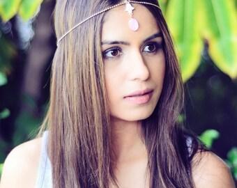 THE GIA  - Pink Indian Chain Hair Jewelry Boho Festival Egyptian Head Indian Pendant Mang Forhead Forehead Tikka Headpiece Gold Hamsa Hair