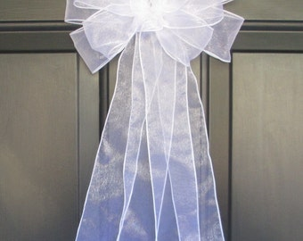 Sheer White Organza Bow, Pew Bridal Wedding Organza Decorations, Chair Aisle Church Ceremony Reception, Assembled