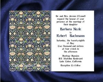 Art Nouveau Art Deco Wedding Invitation & RSVP - William Morris Design 2