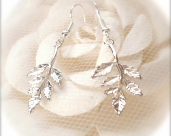 Leaf Branch Sterling Silver Plated Dangle Earrings, Leaf Branch Dangle Earrings, Bridesmaid Gift, Romantic Jewelry Leaf Jewelry Gift For Her