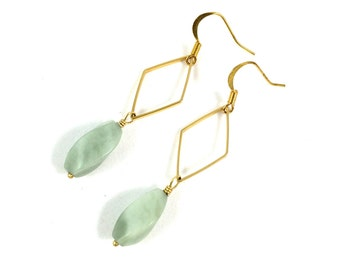 Gold Geometric Earrings, Jadeite Dangle Earrings, Marquise Earrings, Boho Chic Jewelry, Gemstone Jewelry, Minimalist Jewelry, Gifts for Her