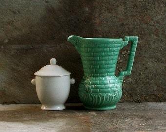 Vintage Green Pottery Pitcher, 1930s Devon Milk Jug, England, Tableware, Kitchenalia, Cottage Farmhouse Decor