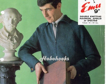 mens zipped cardigan with collar knitting pattern vintage 1960s 36-44 inch DK mens knitting pattern PDF Instant Download
