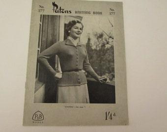 Vintage (1950s) knitting pattern book, Patons No. 377, vintage women's knitwear