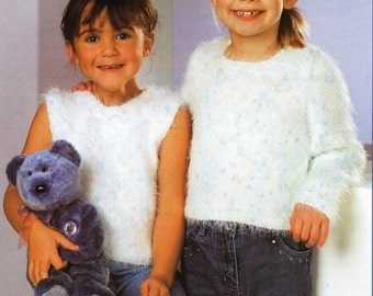 girls mohair sweater top knitting pattern PDF girls mohair jumper 20-30inch 12ply chunky mohair PDF Instant Download