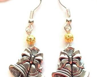 Wedding Bells Earrings - Silver Bell Earrings - Bridesmaid Gifts - Holiday Earrings  - Christmas Earrings - Silver Bells
