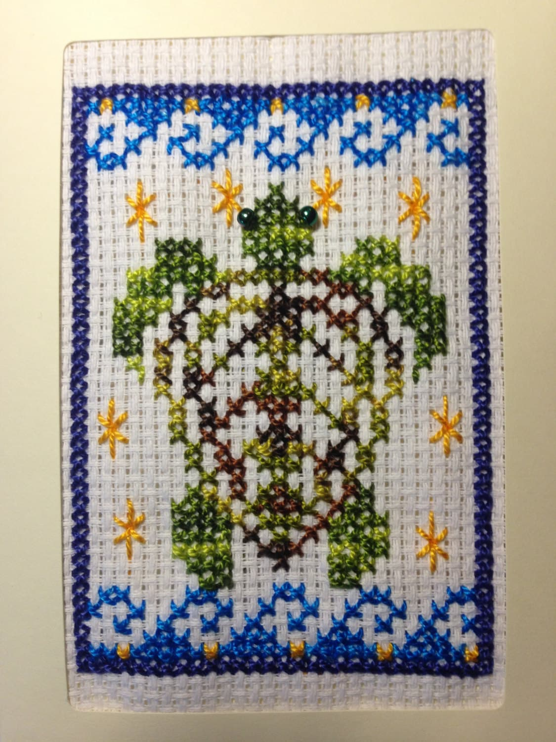 Easy beginners embroidery kit cross stitch sea turtle