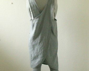 GREY LINEN APRON / cafe / pinafore cross back / linen tunic / linen smock / apron dress / women linen dress / made in australia / pamelatang
