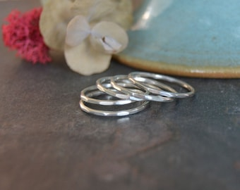 Thin Silver Ring. Silver Stack Ring. Midi Ring. Skinny. Hammered Sterling Silver Stackable Ring. Made to Order