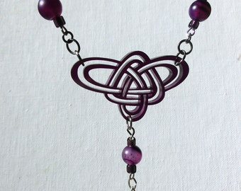 Purple Celtic Knot Necklace with Beaded Dangle - Unique Celtic Pendant Laser Cut Original Drawing by Laura Cesari & Jeremy Richardson