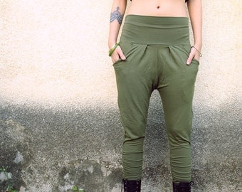 Loose Yoga pants, Drop-Crotch Green Pants, Low crotch pants