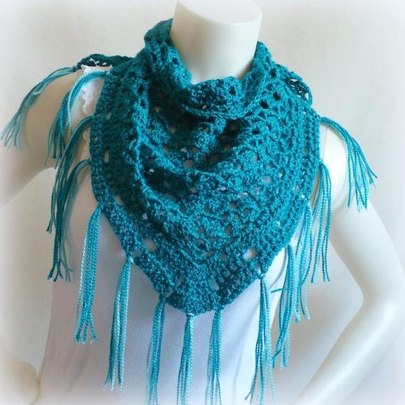 Aqua Triangle Scarf with Fringe, Handmade Tea Shawl, Aegean Blue Crochet Scarf, Ready to Ship