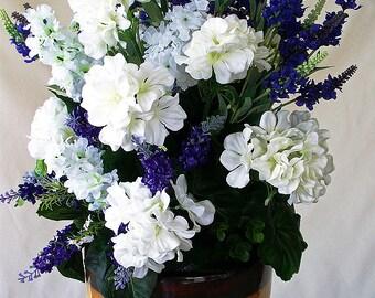 Silk flower arrangement floral centerpiece table centerpiece purple white centerpiece silk purple flower centerpieces artificial flowers mightylinksfo