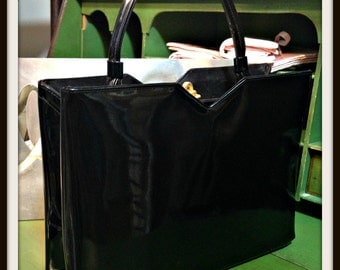 Vintage Black Patent Leather Top Handle Structured Handbag Bag Purse from Lewis FREE SHIPPING