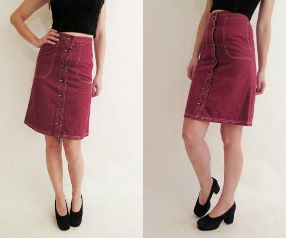 vintage 90 s burgundy denim wrap high waisted midi skirt