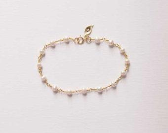 Pearl Bracelet, Initial Leaf, Personalized Bracelet, Birthday, Gift, Birthstone, June Gemstone, Gold, LIJ 14038