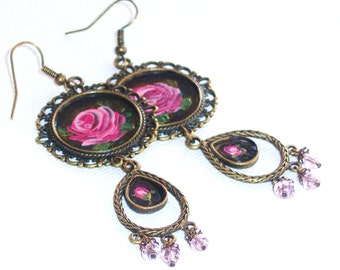 Rose Earrings Hand Painted Flower Pendants Dangling Boho Romantic Jewelry
