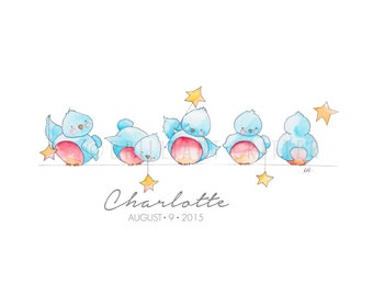 CUSTOM Baby Name Print - Bluebird Nursery Art - Custom Nursery Painting - Personalized Children's Art - Bluebird Print - Bluebird Art