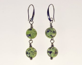 Chrysoprase Drop Earrings Spring Summer Jewelry Birthday Gift for Her Birthstone Tribal Rustic Artisan Green Stone Gunmetal Dangle Earrings