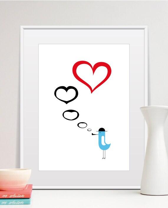 Red Love Wall Decor : Love poster print blue bird red heart wall art by tomasdesign