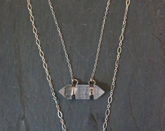 Quartz Necklace // Quartz Crystal // Raw Quartz // Crystal Necklace // Silver Quartz // Custon length necklace