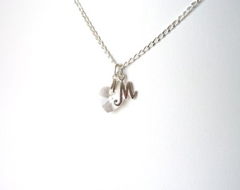 Personalized Flower Girl Necklace, Childrens Initial Necklace, Sterling Silver Necklace, Kids Crystal Heart Necklace,  Flower Girl Gifts