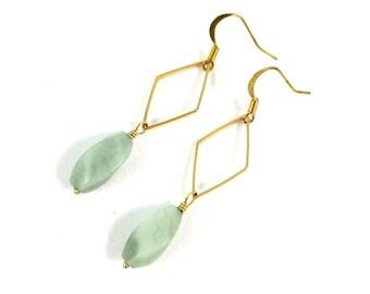 Gold Geometric Earrings, Green Stone Earrings, Boho Dangle Earrings, Hippie Jewelry, Statement Jewelry, Gypsy Jewelry, Gifts for Her