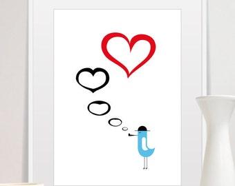 Bird Love Poster Mid Century Modern Love Wall Decor, Size A3 or 11x14