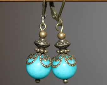 Turquoise Earrings Dangle Earrings Victorian Earrings Boho Chic Earrings Jewelry Small Earrings Christmas Gift