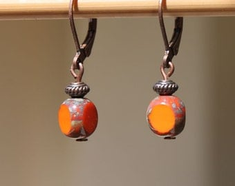 Orange Earrings Czech Earrings Glass Earrings Dangle Earrings Boho Chic Earrings Small Earrings Gift For Her Gift Ideas