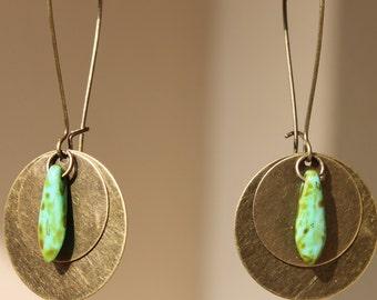 Turquoise Earrings Blue Green Earthy Earrings Brass Earrings Boho Earrings Jewelry Dangle Gift Ideas