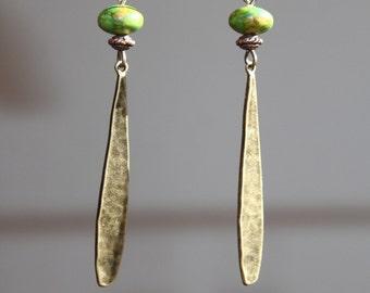 Boho Earrings Green Earrings Brass Earrings Bohemian Earrings Dangle drop Earrings Jewelry Long Light Earrings Gift ideas
