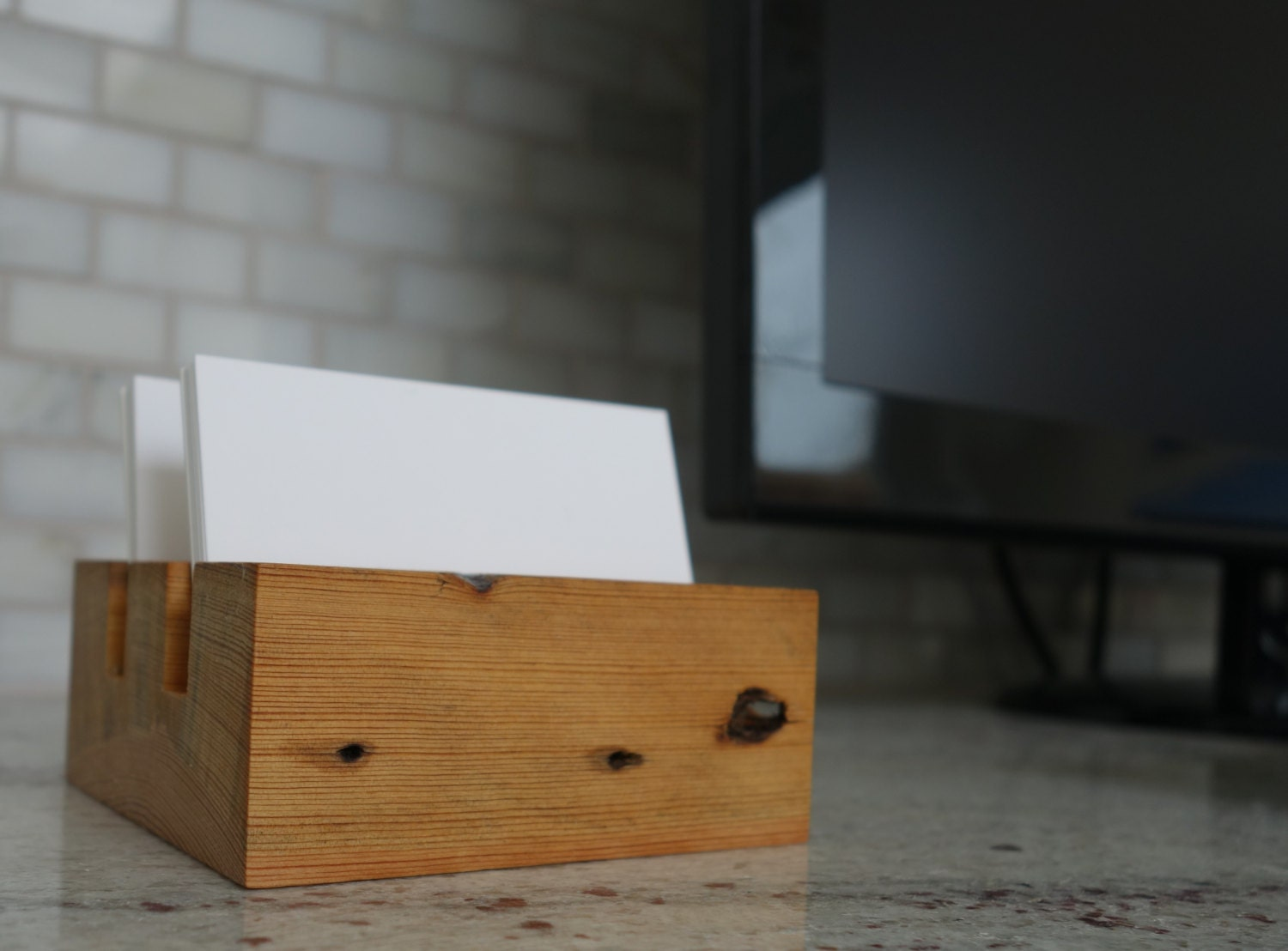 Wooden Office Gifts ~ Wood business card holder desktop