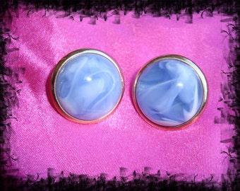 Vintage Marble Like Swirl Earrings Blue Swirl Earrings