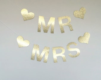 Mr and Mrs gold or silver wedding banner decor
