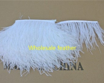 10 yards/lot white ostrich feather trimming fringe on Satin Header 5-6inch in width for Wedding Derss