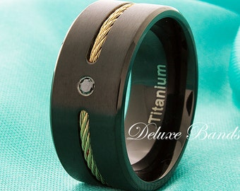 Titanium Black Diamond Ring Black Titanium Wedding Ring Yellow Gold Plated Cable Inlay Pipe Cut Brushed 10mm FREE Laser Engraved Comfort Fit
