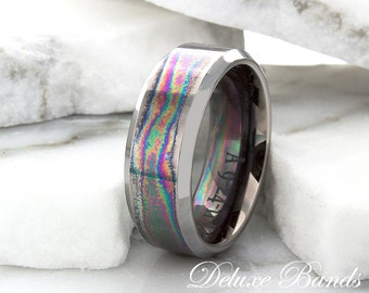 Mens Tungsten Wedding Ring,Mens Tungsten Wedding Band,Tungsten Wedding Band,Flat Beveled Edges,Mens Tungsten Band,Rainbow Color Any Size