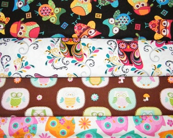 4 FQ Bundle – Playful OWLS 100% Cotton Quilt Craft Fabric Fat Quarters
