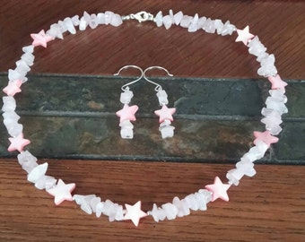 Pink Quartz and Pink MOP Necklace and Earring set