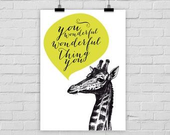 "fine-art print ""You wonderful wonderful thing you"" giraffe vintage"