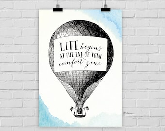 """fine-art print poster """"Life begins at the end of your comfort zone"""" illustration quote hot-air balloon vintage"""