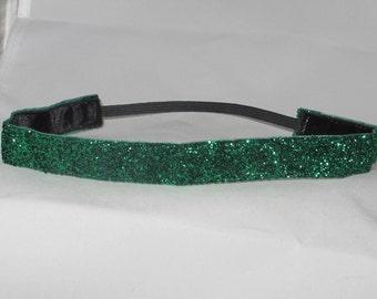 No slip EMERALD GREEN GLITTER headband!  They just don't slip!