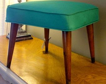 Vintage Stool Turquoise Foot Stool Footstool Antique