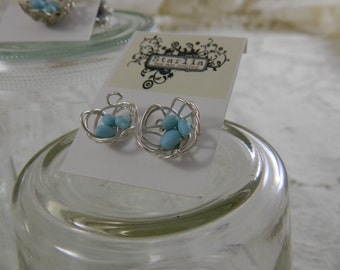 Silver bird nest earrings