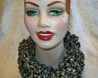 Infinity Scarf Chunky Country Knit Hooded Cowl Handmade