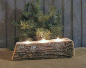 Rustic Log Candle Holder - Primitive Log Centerpiece - Rustic Thanksgiving Log Centerpiece - Primitive Christmas Decor