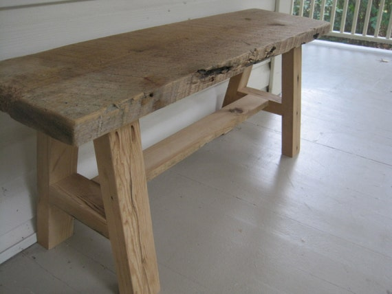 Reclaimed Barnwood Rustic Country Bench
